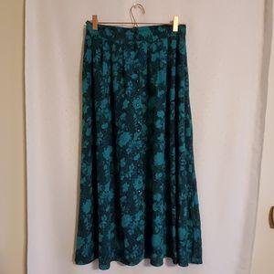 Vintage | Green Floral Midi Skirt